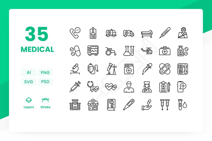Thumbnail for Medical - Icons Pack (Outline)