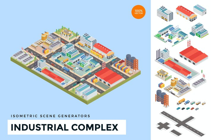 Thumbnail for Isometric Industrial Factory Complex Vector Scene