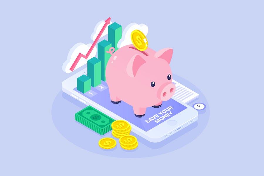 Isometric Piggy Bank Concept