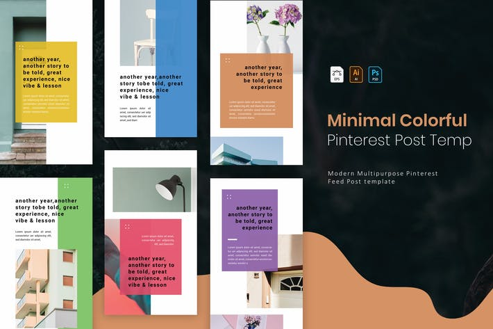 Thumbnail for Minimal Colorful | Pinterest Post Template