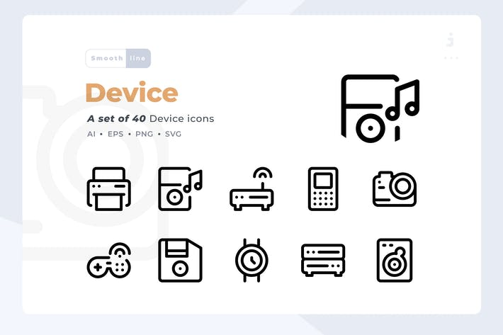 Thumbnail for Smoothline - 40 Technology and Device icon set