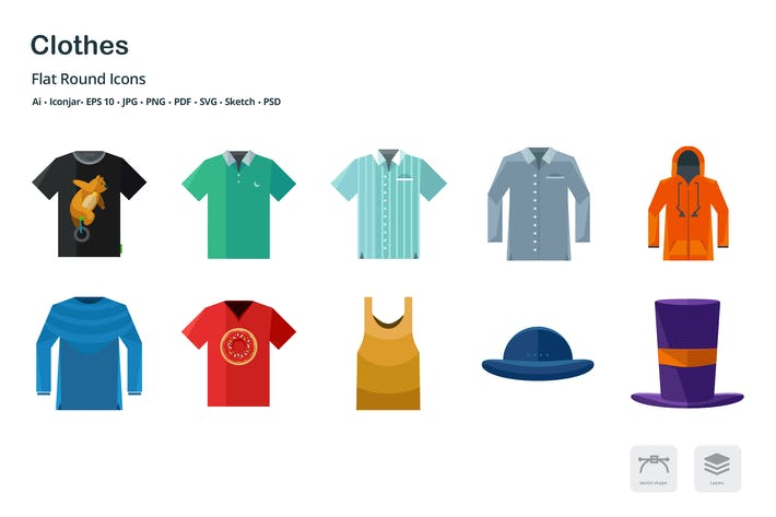 Thumbnail for Clothing and Fashion Flat Colored Icons