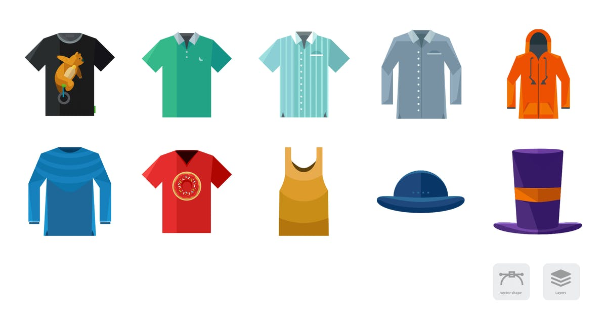 Download Clothing and Fashion Flat Colored Icons by roundicons