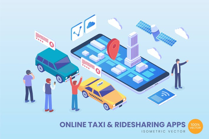 Cover Image For Isometric Online Taxi & Ride Sharing Apps Vector