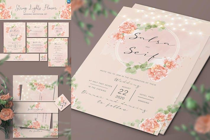 Thumbnail for String Lights Flower Invitation Set