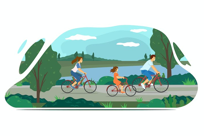 Thumbnail for Family biking in nature near a lake. Flat vector.