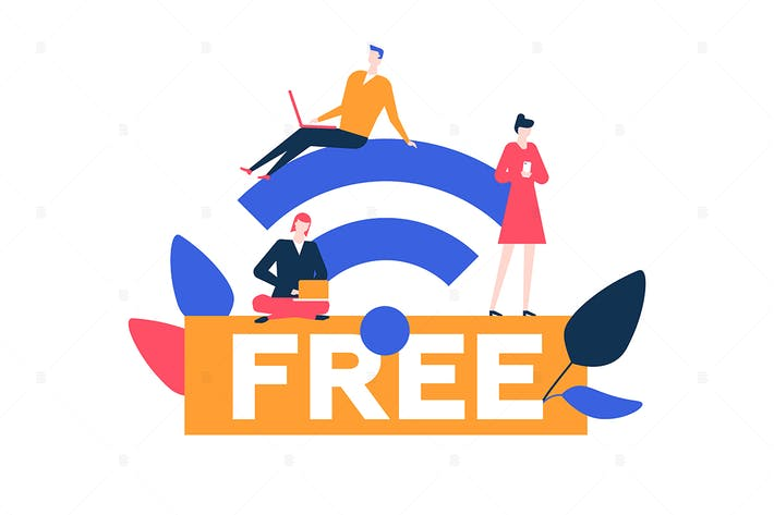 Thumbnail for Free wifi - flat design style illustration