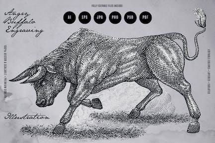 Angry Buffalo Engraving Illustration