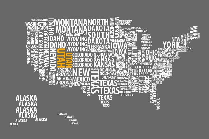 Thumbnail for US Map Made of State Names