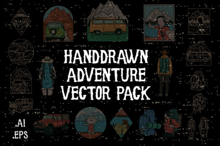 Thumbnail for Handdrawn Adventure Vector Pack