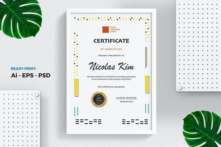 Thumbnail for Yellow Dot Certificate / Diploma Template