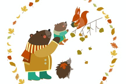 Bear, bear cub, squirrel and hedgehog walking