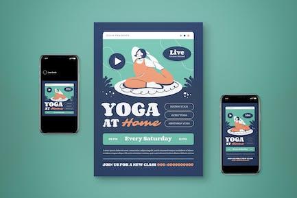 Yoga At Home Flyer Set
