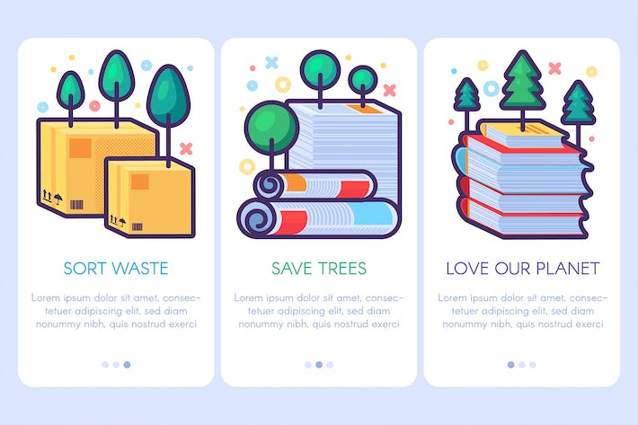 Thumbnail for Paper Waste With Trees Banners Set