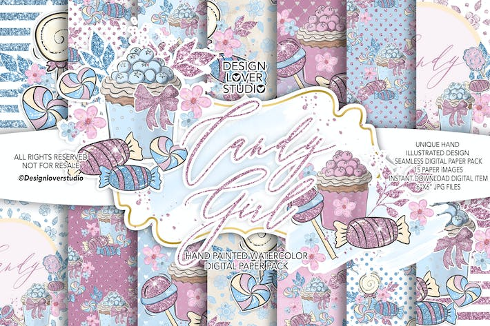 Thumbnail for Candy Girl digital paper pack