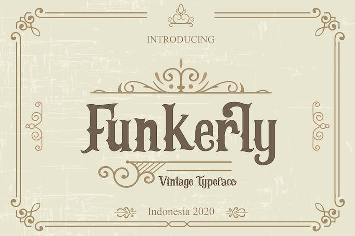 Thumbnail for Funkerly Vintage Typeface Serif Font