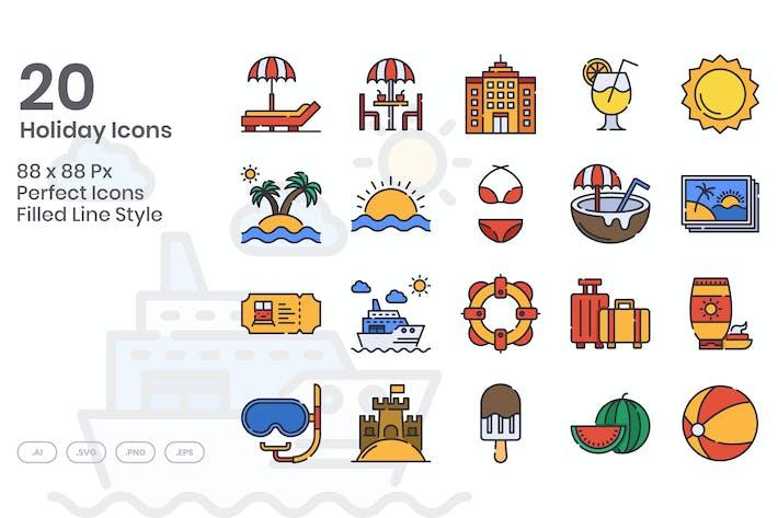 Ensemble de 20 Icones des Fêtes - Ligne remplie