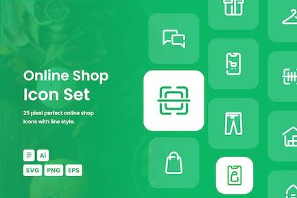 Online Shop Dashed Line Icon Set