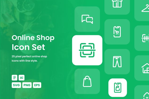 Online Shop Dashed Line Icon Set