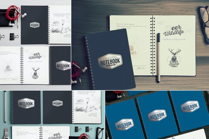 Thumbnail for 4 Notebook Mockups With Movable Elements