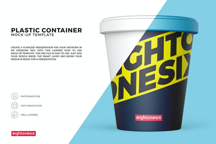 Thumbnail for Plastic Food Container Mock-Up Template