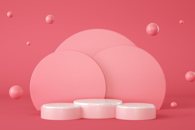 Empty pink podium with circles at background, 3d