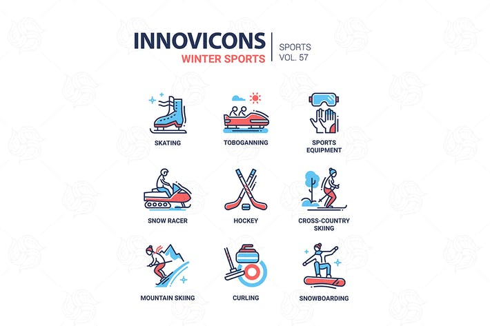 Cover Image For Winter sports - line design icons set