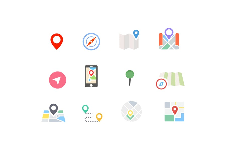 12 Map Location Pin Icons