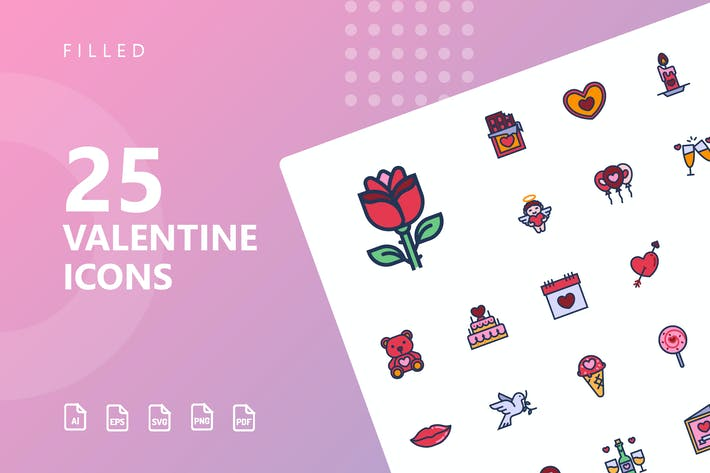 Thumbnail for Valentine Filled Icons