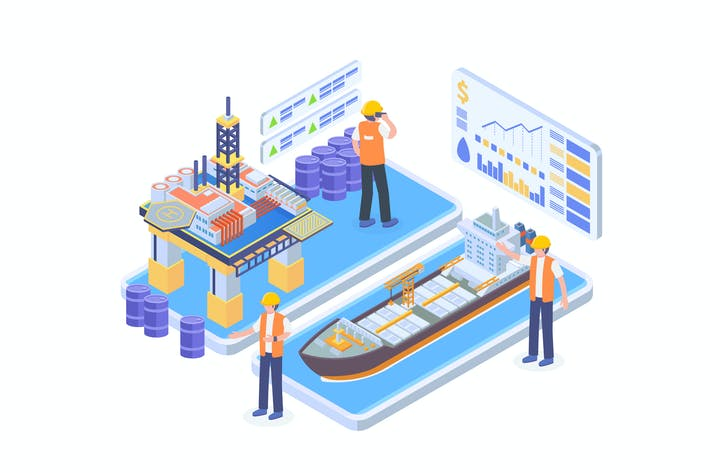 Thumbnail for Offshore Oil Industry Isometric Vector