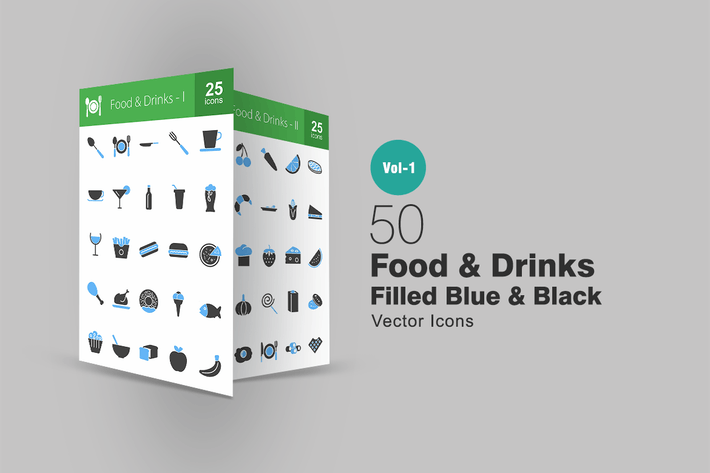 Thumbnail for 50 Food & Drinks Blue & Black Icons