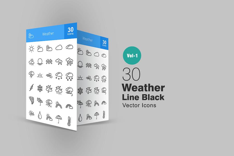 30 Icons für Wetterlinien