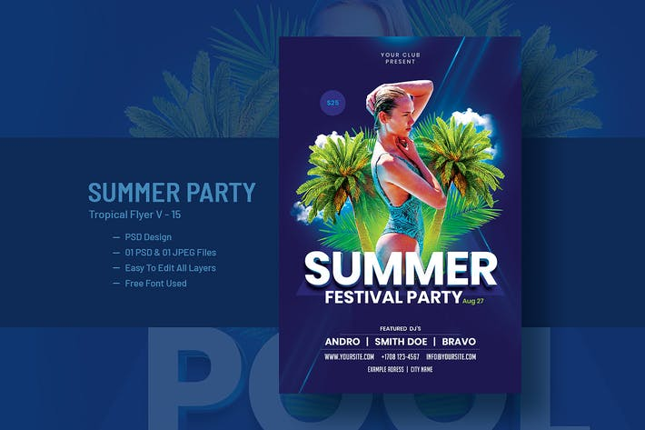 Thumbnail for Summer House Party Flyer Template V-15