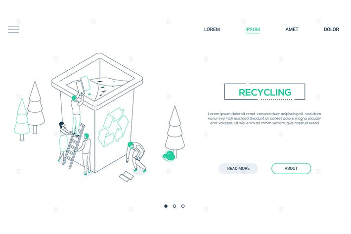 Thumbnail for Recycling - line design style isometric web banner