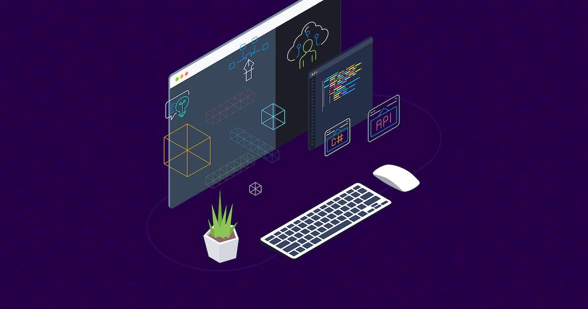 Download Blockchain Platform Isometric Illustration 9 by angelbi88