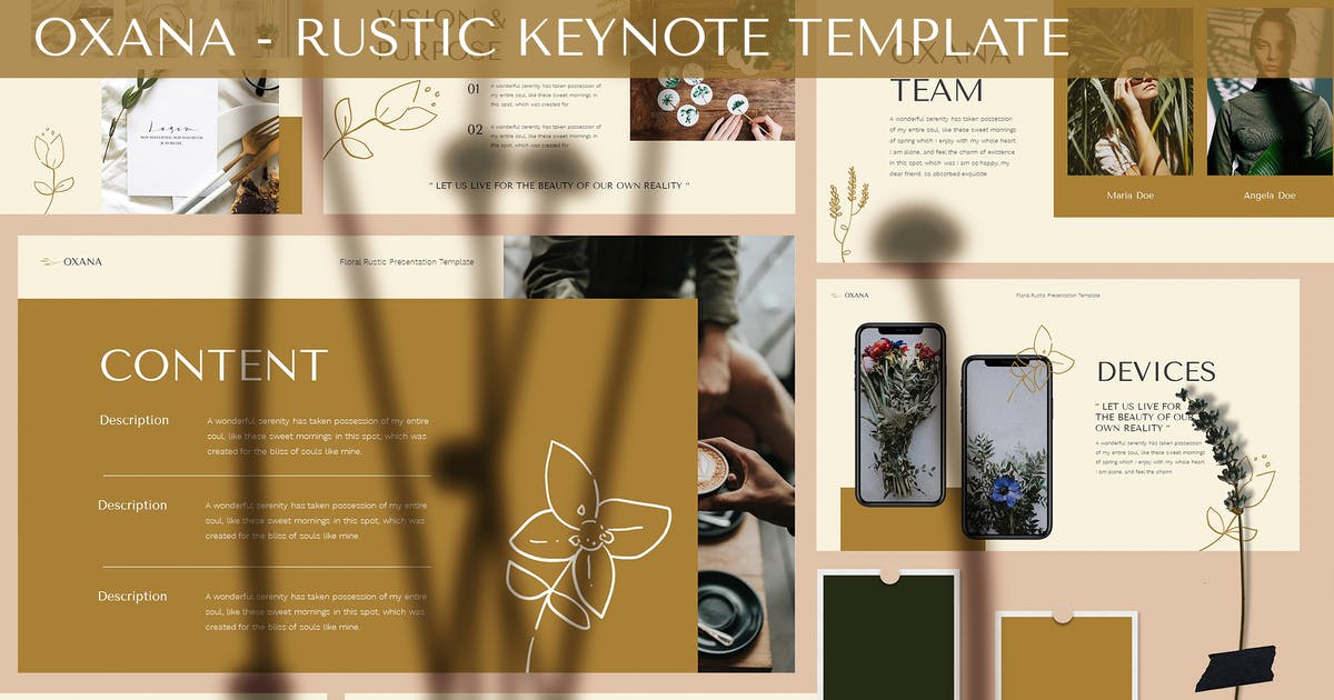 Download Oxana - Rustic Keynote Template by SlideFactory