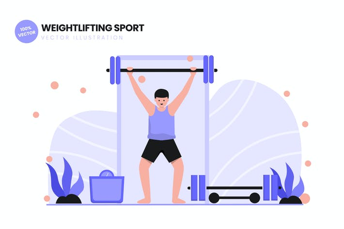 Thumbnail for Weightlifting Sport Flat Vector Illustration