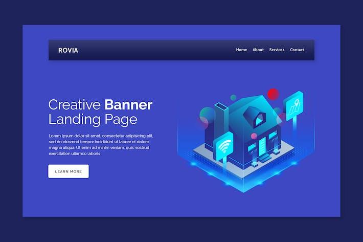 Thumbnail for Rovia - Hero Banner Landing Page Design