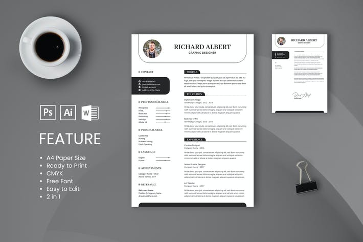 Thumbnail for Professional CV And Resume Template Richard Albert