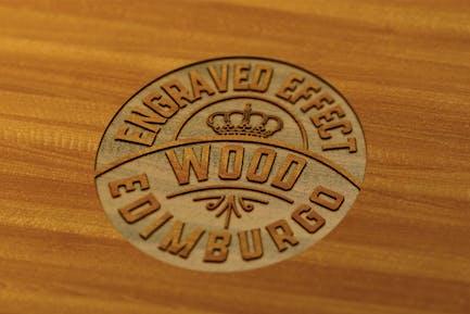Engraved Wooden Fffect mockup