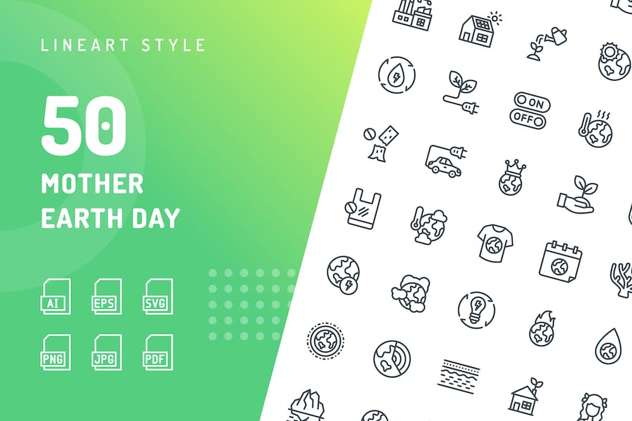 Mother Earth Day Line Icons