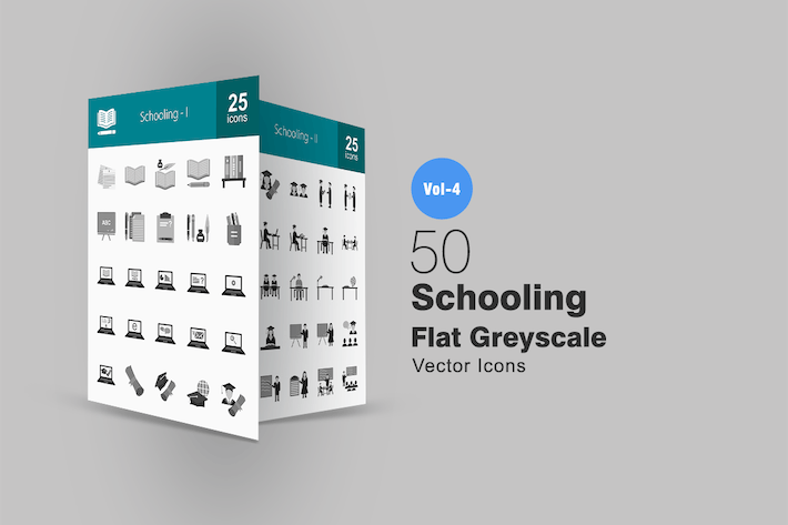 Cover Image For 50 Schooling Greyscale Icons
