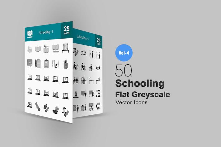 Thumbnail for 50 Íconos de escala de grises escolares
