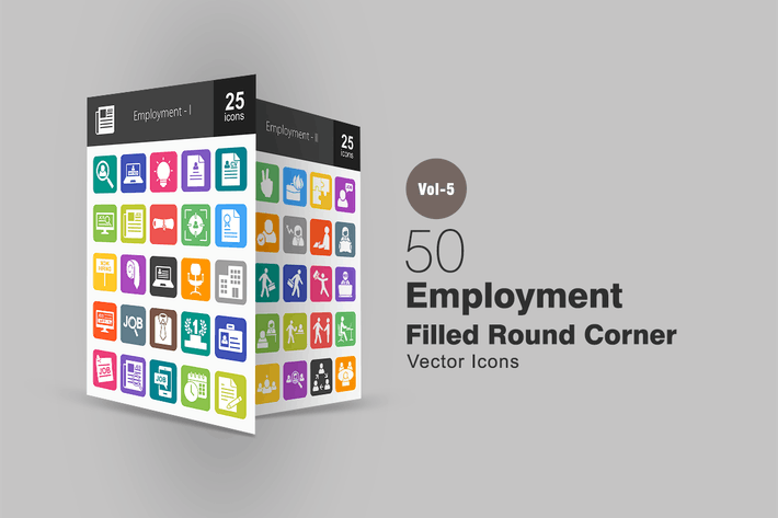 Thumbnail for 50 Employment Flat Round Corner Icons