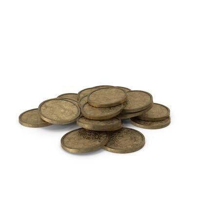 Goldmünzen-Haufen