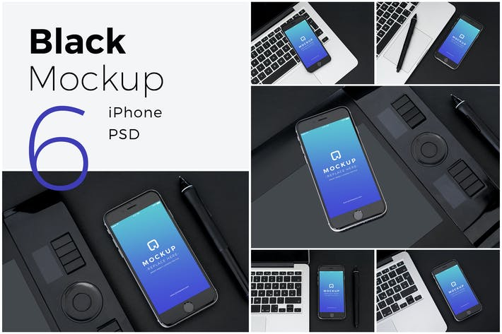 Thumbnail for Black Mock-Up iPhone Pack
