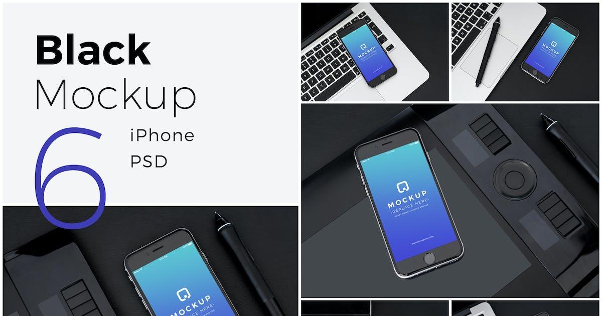 Download Black Mock-Up iPhone Pack by MuseFrame