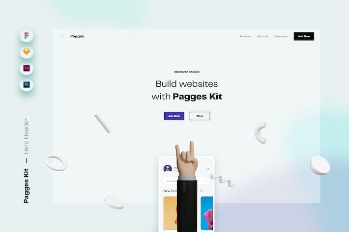 Thumbnail for Pagges Kit - Hero Header Web UI Template