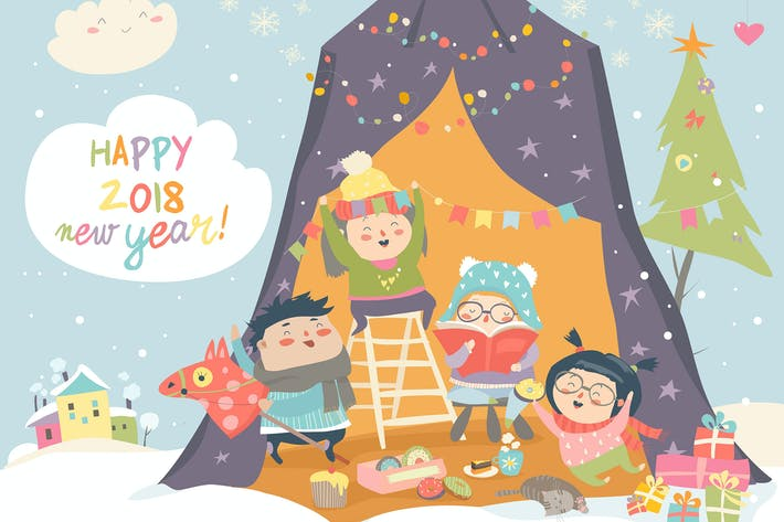 Thumbnail for Happy children celebrating Christmas. Vector