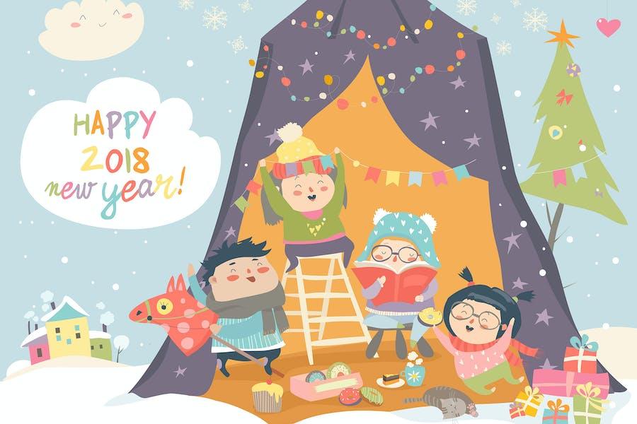 Happy children celebrating Christmas. Vector